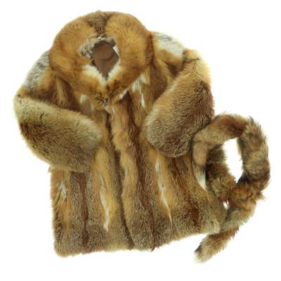 EXTRA PRÉMIUM: Pelz Viorel Cirsten barna róka szőrme kabát sállal